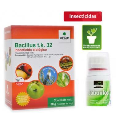 Bacillus 32 TK insecticida biológico contra orugas. Incluye mojante Jabonfos